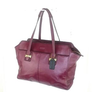 Coach Large Taylor Merlot Leather Tote Bag